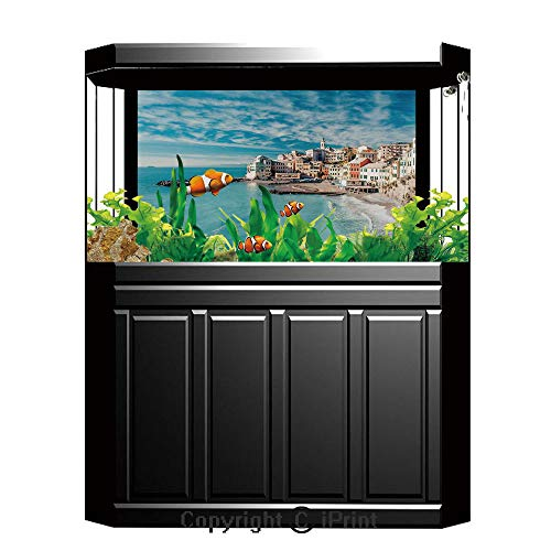 Multi Italian Charm - Terrarium Fish Tank Background,Farm House Decor,Panorama of Old Italian Fish Village Beach Old Province Coastal Charm Image,Turquoise,Photography Backdrop for Pictures Party Decoration,W48.03