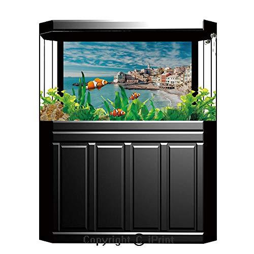 (Aquarium Decoration Background,Farm House Decor,Panorama of Old Italian Fish Village Beach Old Province Coastal Charm Image,Turquoise,Photography Backdrop for Photo Props Room,W48.03