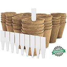 "3"" Peat Pots | Plant Starters | Seedling & Herb Seed Starter Kit - Organic Biodegradable Pots 100% Eco-Friendly Enhance Aeration | BONUS 10 Plastic Plant Markers – Bulk 60 Pack, 3 inch"