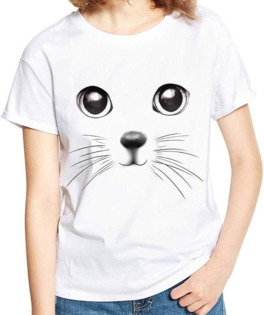 JURTEE Camiseta Talla Grande para Mujer Simple Estilo Salvaje Cuello Redondo Impresión Divertida Blusa Camisa Manga Corta Tops Verano: Amazon.es: Ropa y accesorios