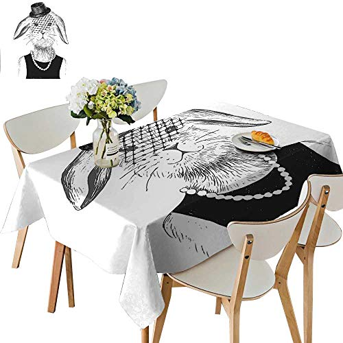 UHOO2018 Solid Tablecloth Girl with Pearls and Vintage Hat Hipster Comic Cute Retro Bunny Graphic Black Square/Rectangle Spillproof Fabric Tablecloth,54 x102inch