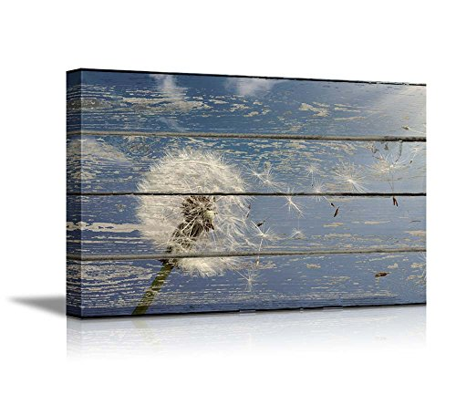 wall26-canvas-prints-wall-art-dandelion-on-vintage-wood-board-background-stretched-canvas-wrap-ready