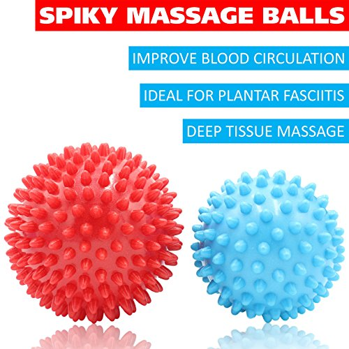Massage Ball Set for Deep Tissue Recovery, Trigger Point Therapy, Myofascial Release, Muscle Knots, Mobility MOD, Plantar Fasciitis- 5'' Foam Roller Ball, Peanut Double Ball, Spiky Balls, Lacrosse Ball by GURUNESS FITNESS (Image #4)