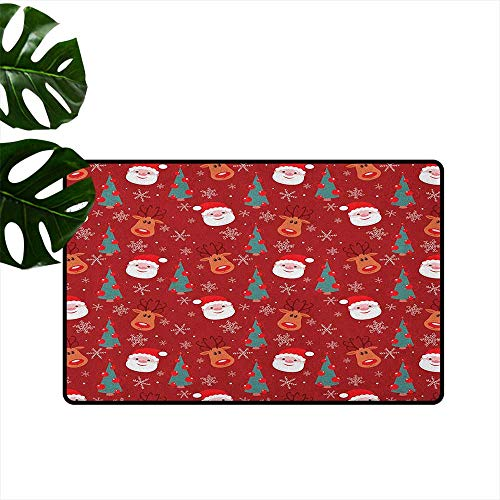 (RenteriaDecor Red,Washable Entrance Doormat Smiling Cartoon Santa with Rudolph Tree and Snowflakes Merry Christmas Holiday 18