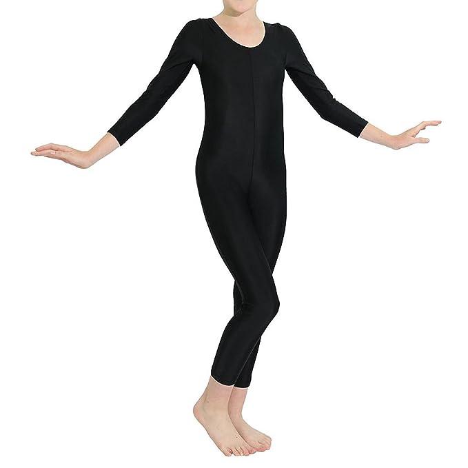 3d315aaf0464 inhzoy Kids Girls Long Sleeves Unitard Jumpsuit Full Length Catsuit Bodysuit  Dance Gymnastics Leotard One Piece