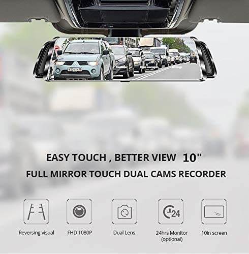 TekBow Auto Camera Dash cam 9.66 Inch Full HD Front 1080P and Rear 1080P Media Screen with Bracket, 170 Wide-Angle Lens and Rearcam, Parking Monitor T10