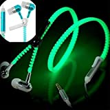 AOXIANG 3.5 Mm in-Ear Zipper Luminous Earphones Glowing Stereo Bass Sport Running Headset with Microphone/Mic Fresh Earbuds for iPhone iPod Mobile Phone MP3 MP4 MP5 Player