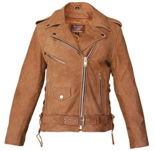 Ladies Brown Leather Motorcycle Jacket with zip-out liner & side laces-AL2115-3X (Motorcycle Lace Jacket Womens)