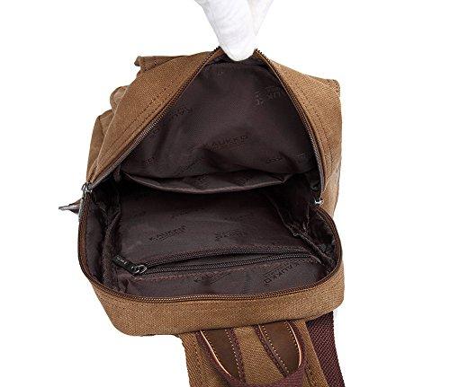Genda 2Archer Lona de los Hombres que va de Excursión el Pecho Empaqueta al Aire Libre el Bolso del Hombro de la Actividad (17.5cm * 7.5cm * 29cm) (Caqui) Caqui