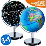 USA Toyz Interactive World Globe for Kids - 3 in 1 Educational Lighted Globes of The World with Stand, Earth Constellation Night Light Up Illuminated Globe