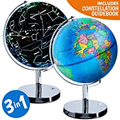 Discover the inner explorer in you with this 3-in-1 interactive illuminated globe for kids. This light up globes of the world with stand also becomes an educational constellation globe, an excellent children's globe with clear easy to read ca...