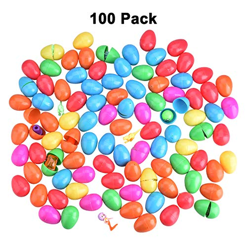 100 Toy Filled Easter Eggs, Decorative Eggs for Easter Egg Hunts, Community Hunts, Easter Theme Party Favor, Easter Decoration Filled with 10 Different Kinds of Toys