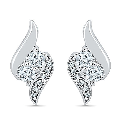 TOGETHER US DIAMOND COLLECTION Sterling Silver Two Stone White Diamond Fashion Earring (0.33 Cttw) by D-GOLD (Image #4)