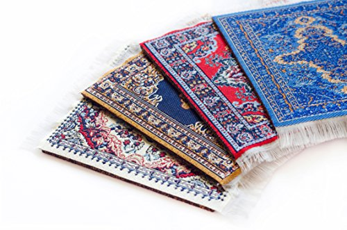 Oriental Carpet Coasters (Set of 4) Assorted Designs - Rug Table Coasters - Oriental Design Fabric Carpet Drink Mats. Perfect Cloth Fabric Cork Back Coaster is the Perfect housewarming present!