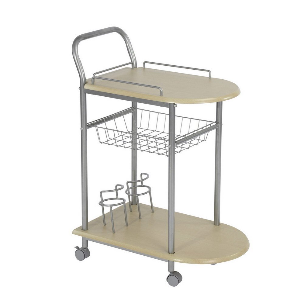 Fanilife Rolling Cart Metal Frame Wine Tray Trolley Storage Rack Table Kitchen Beech