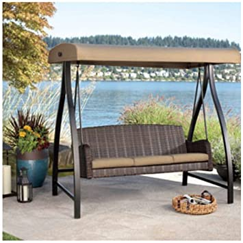 Agio 3 Seat Cape Town Woven Swing With Canopy Amazon Co Uk Garden
