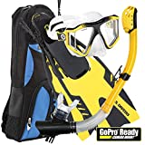 U.S. Divers Lux Mask Fins Snorkel GoPro Ready Set, Yellow,...