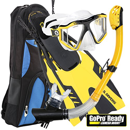 U.S. Divers Lux Mask Fins Snorkel Set Compatible with GoPro, Yellow, Small/Medium