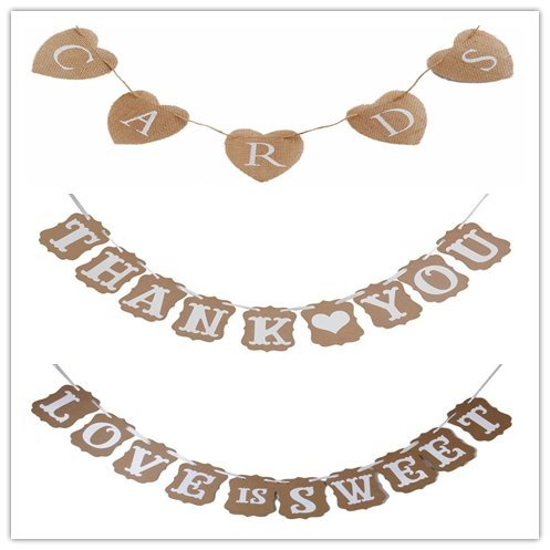 CARDS Hessian Bunting LOVE IS SWEET Banner for Rustic Wedding Decor