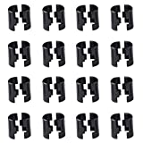 TeeGoo Wire Shelving Shelf Lock Clips for 1'' Post, Shelving Sleeves, Plastic, Black (16 Pairs)