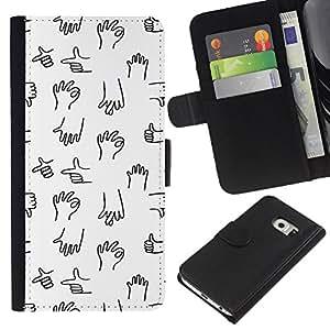 All Phone Most Case / Oferta Especial Cáscara Funda de cuero Monedero Cubierta de proteccion Caso / Wallet Case for Samsung Galaxy S6 EDGE // Hand Marks Chart White Black Minimalist