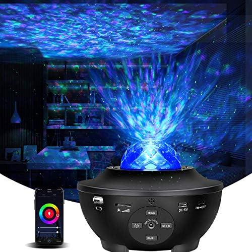Smart Star Projector Night Light,Ocean Wave Galaxy Projector Light Work Alexa Google Assistant Music Starry Sky Lite Bult-in Bluetooth Speaker for Adult Kid Bedroom Christmas