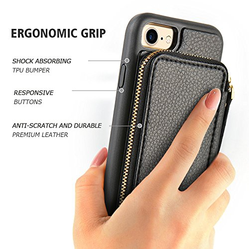 iPhone 8 Wallet Case, iPhone 7 Wallet Case, ZVE iPhone 7 Case/iPhone 8 Case with Card Holder, Protective Wallet Leather Case With Credit Card Holder Slot for Apple iPhone 7/8 4.7 inch - Black by ZVE (Image #9)