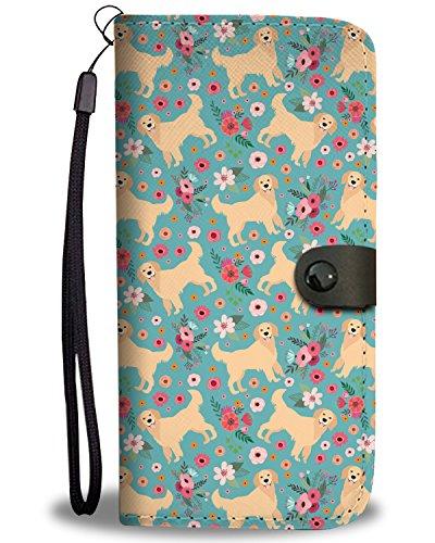 Gnarly Tees Golden Retriever Flower Wallet Phone Case, LG V30