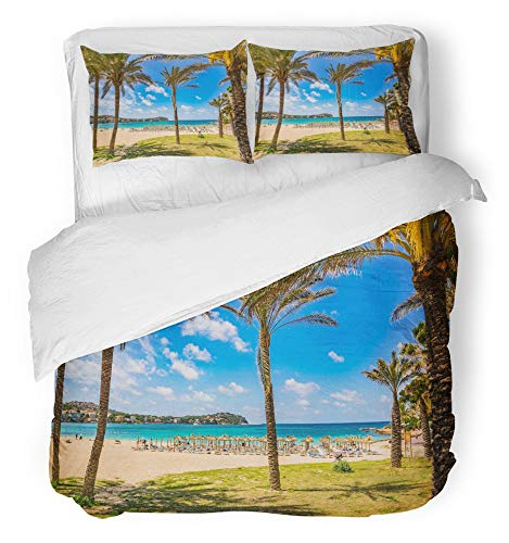 Emvency Bedsure Duvet Cover Set Closure Printed Decorative Beautiful Beach Scenery with Tropical Palms in Santa Ponsa Spain Majorca Breathable Bedding Set With 2 Pillow Shams Full/Queen Size by Emvency