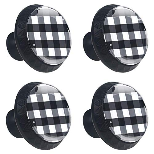 4 Pieces Set Cabinets Hardware Round Furniture Knobs Black Buffalo Check Plaid Print,Drawer Dresser Cupboard Wardrobe Pulls Handles for Home Kitchen
