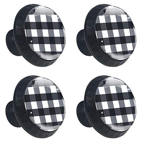 (4 Pieces Set Cabinets Hardware Round Furniture Knobs Black Buffalo Check Plaid Print,Drawer Dresser Cupboard Wardrobe Pulls Handles for Home Kitchen)