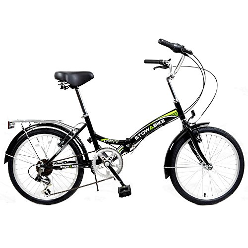 "Stowabike 20"" Folding City V2 Compact Foldable Bike – 6 Speed Shimano Gears Black"