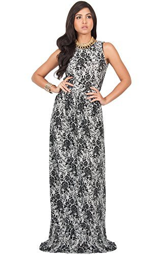 KOH KOH Womens Sleeveless Floral Lace Print Summer Cocktail Long Gown Maxi Dress