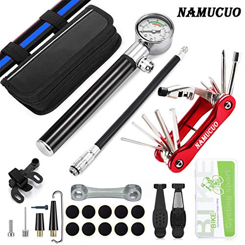NAMUCUO Bike Tyre Repair Tool Kit - Bicycle Tool kit with 210 Psi Mini Pump 10-in-1 Multi-Tool(with Chain Breaker),3 in1 Tyre Levers &Tire Patch, Bone Wrench, Portable Tool Bag. 6 Month Warranty