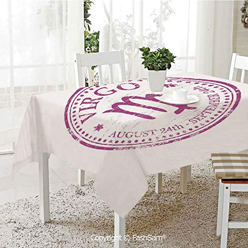AmaUncle Party Decorations Tablecloth Pink Colored Horoscope Symbol August 24Th and September 24Th Vintage Design Image Decorative Kitchen Rectangular Table Cover (W60 xL104)]()