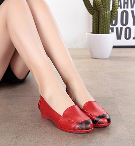 Of Shoes Women'S Shoes 5Cm Shoes Spring 2 Autumn Single Flat Mom And Red Women Version Shoes 35 Middle Versatile And Spring Korean Aged KHSKX TaSxqB