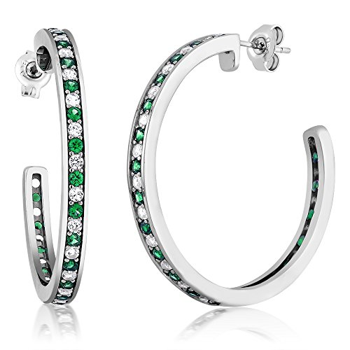150-inch-925-Sterling-Silver-Green-Nano-Emerald-White-Created-Sapphire-Womens-Hoop-Earrings