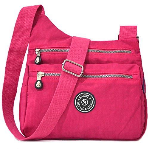 Bag Pink Bright for Pocket Nylon Z187 Multi Purse Women Crossbody STUOYE Shoulder Bags Travel wvqO7Z
