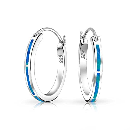 Created Opal Inlay Thin Flat Tube Large Hoop Earrings For Women Rose 925 Sterling Silver October Birthstone More Colors