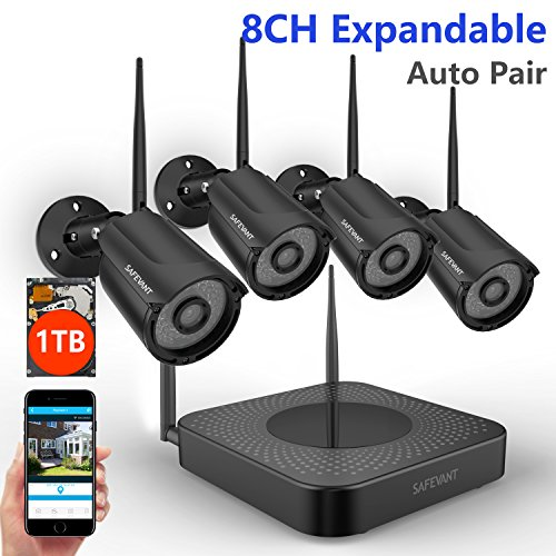 8. SAFEVANT FULL-HD 8CH 960P Wireless Security Camera System with 4pcs 960P Wireless Security Cameras,1TB HDD,Black