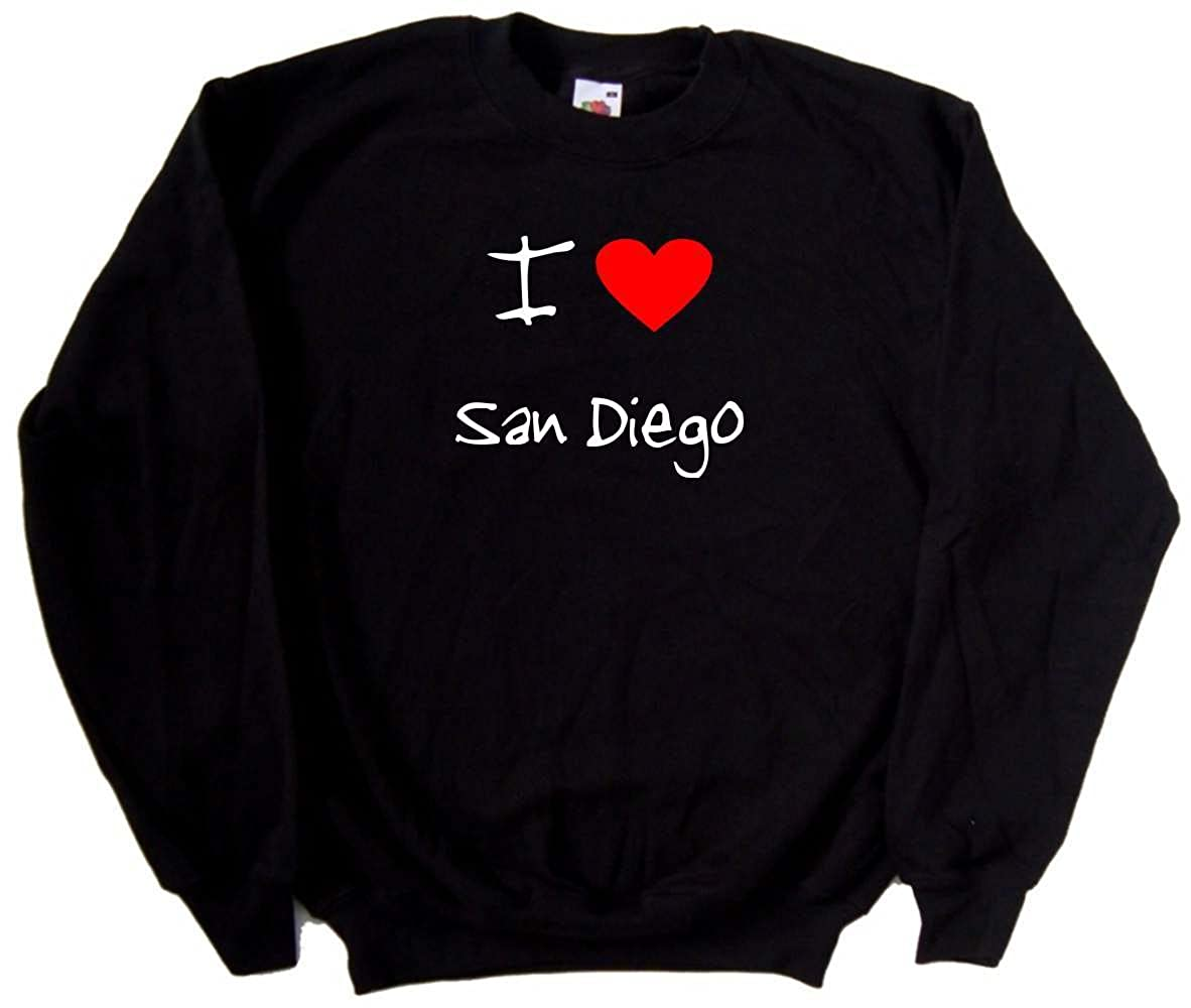 -XX-Large White Print I Love Heart San Diego Black Sweatshirt