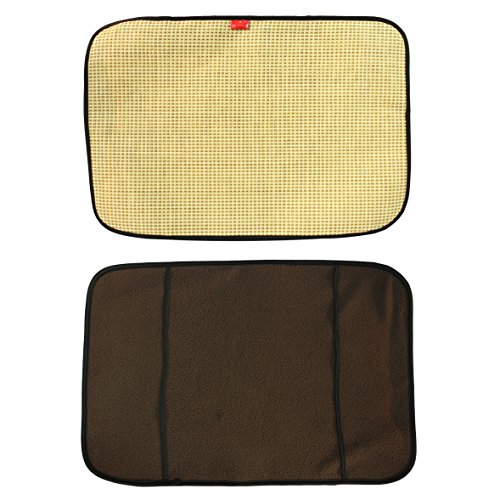 (UonlyU Reversible Pet Bed Mats Pet Pad, One Side Cooling Nature Fiber Collection for Summer, The Other Side Warm Coral Velvet for Winter (Small, Beige))