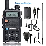 BaoFeng UV-5R Dual Band Two Way Radio with one more Battery Car Charge one Hand Mic. and NA-771