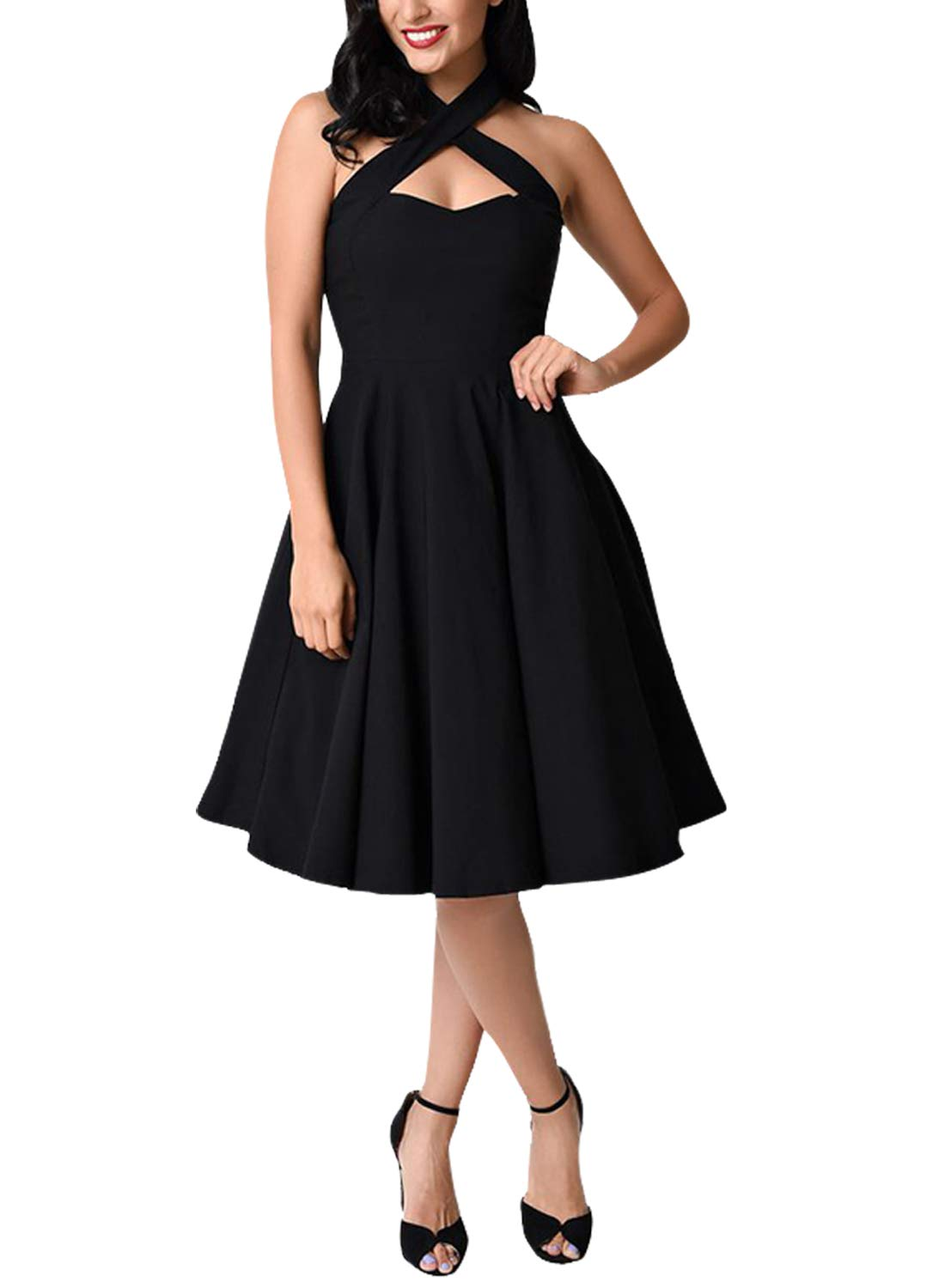 Asvivid Women SexyFashion Open Back Criss Cross Halter Fit and Flare Bridesmaid Homecoming Dress Plus Size 1X Black