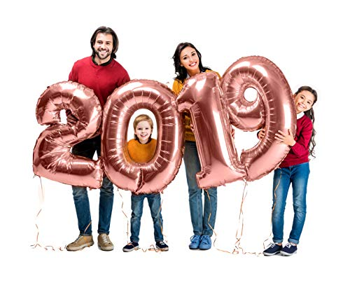 Giant 40 Inch Rose Gold 2019 Number Foil Mylar Balloons Graduation Party Supplies for Wedding Retirement Celebration Decorations -
