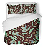 Emvency Bedsure Duvet Cover Set Closure Printed Flower Floral Pattern Batik Patch Ethnic Malaysia Medieval Arabesque Arabian Decorative Breathable Bedding With 2 Pillow Shams Full/Queen Size