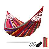 200x150cm 2 Persons Outdoor Camping Hammock Leisure Hang Bed Travel Camping Swing - Rainbow Stripes