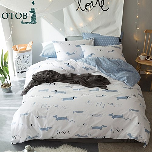 ORoa Soft Cute Cartoon Animal Puppy Dog Bedding Duvet Cover Queen Full Size Set for Kids Boys Girls Cotton 100 Percent, Children Striped Bedding Sets, Reversible Lightweight (White Blue, Queen) Dog Quilt