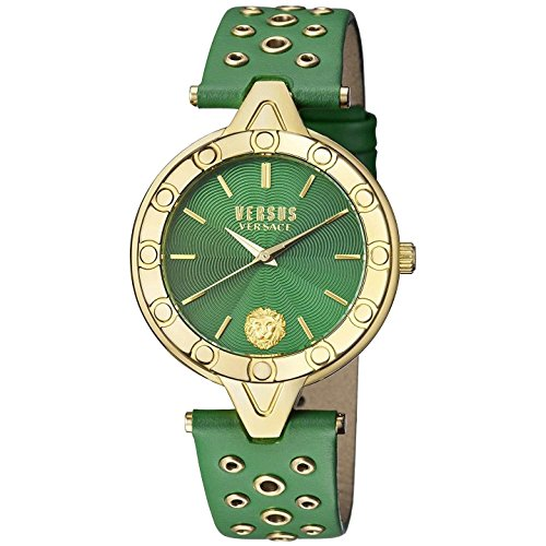 Versus by Versace Women's 'V Versus Eyelet' Quartz Gold and Leather Casual Watch, Color:Green (Model: SCM120016)