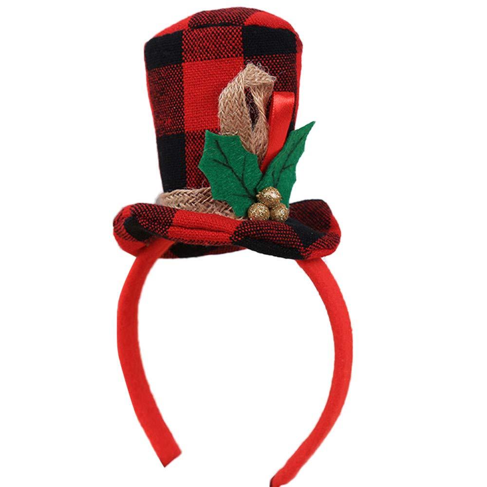 Pausseo Christmas Snowflake Santa Claus Deer Bear Earmuffs Headband Warm Kid Girls Boys Xmas Party Decor Double Hair Band Clasp Hoop Decorative Hair Comfortable Festival Headdress for Girls Boys (D)
